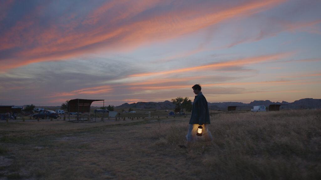 fern cammina in mezzo ad una prateria al tramonto